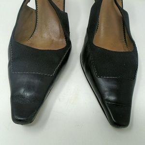 Gucci Black Leather Slingback Kitten Heels